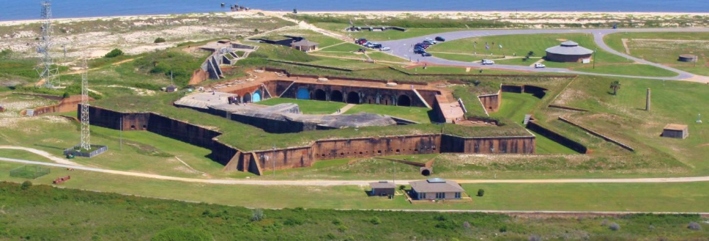 Ariel view of the Fort Morgan State Historic Site