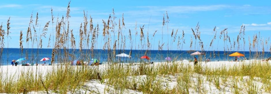 Gulf Shores Beach Photo with people and umbrellas