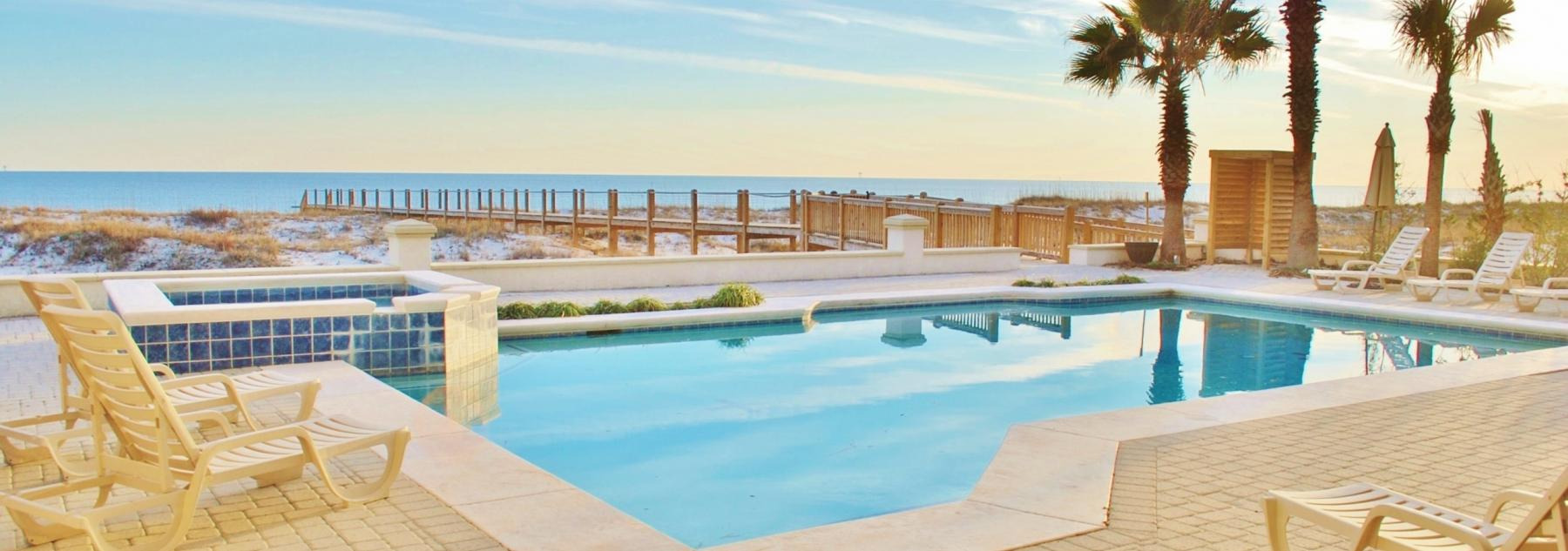 The private pool at a Gulf Shores vacation rental