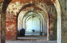 An entrance door to the Fort Morgan State Historic Site