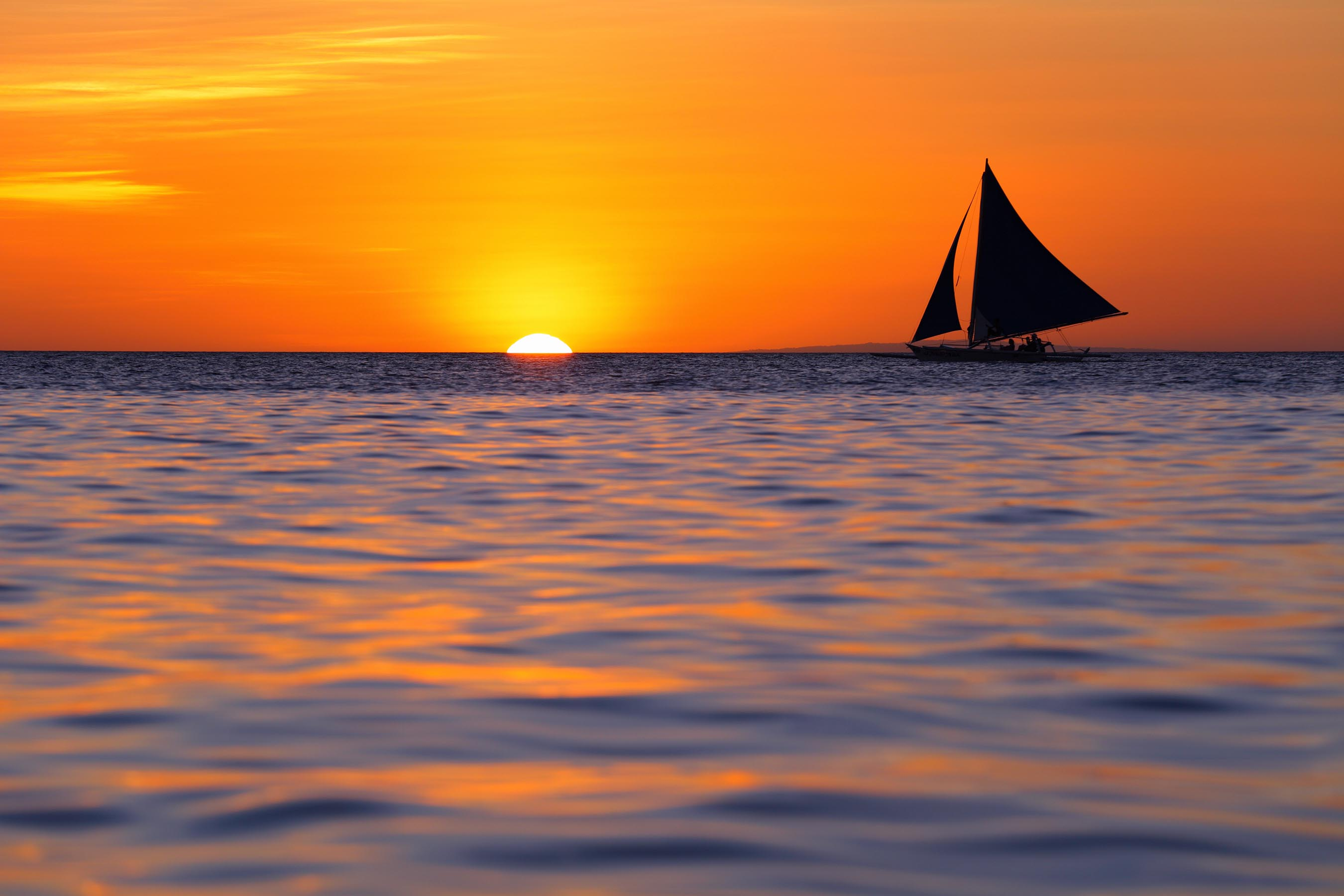 Sailing during a sunset