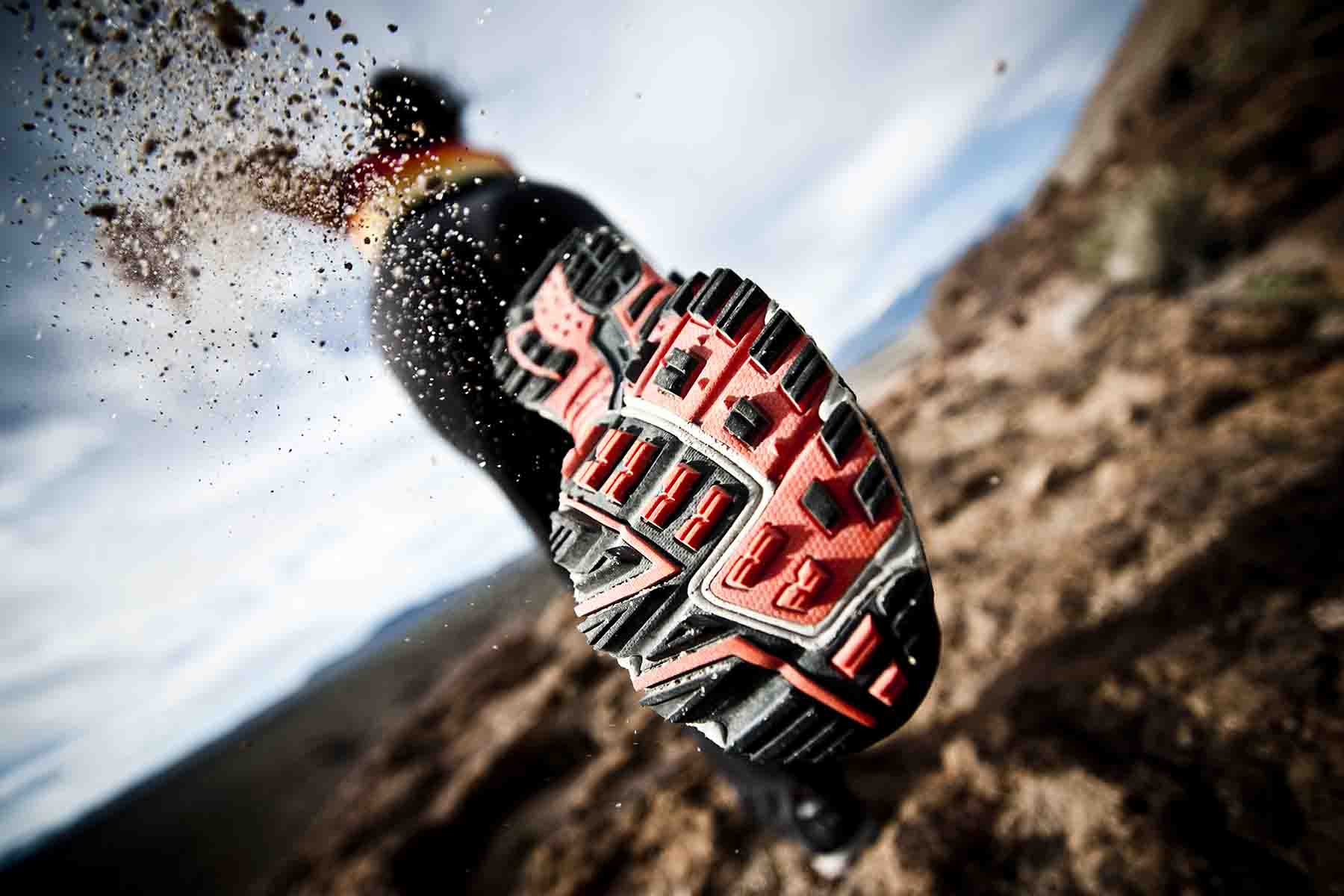 Back of running shoe during a triathalon